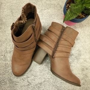 Shoedazzle Brown Leather Ankle Boots s. 8